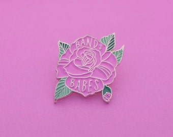 Band Of Babes Enamel Pin, Rose Flower Pin, Lapel Pin, Pin Flair, Hat Pin, Best Friends, Jacket ...