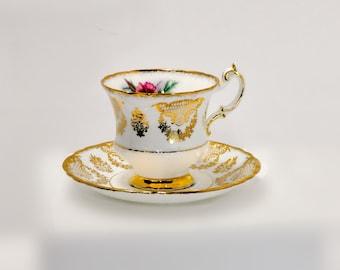 Paragon Light Blue Gold Flower Teacup Fine Bone China England
