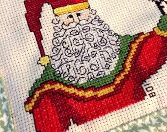 Christmas cross stitch, Santa cross stitch, cross stitch coaster, finished cross stitch, Santa, Christmas