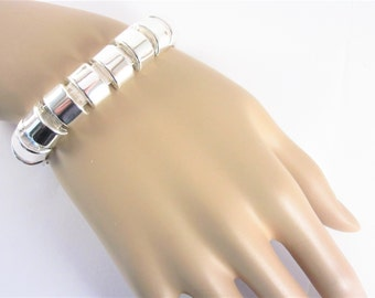 Vintage Anne Klein Tubular Link Silver Tone Bracelet