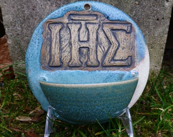 Handmade Pottery Green Blue Holy Water Font: Jesus Christ