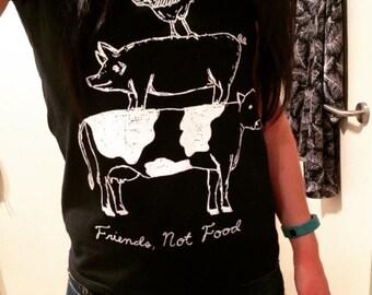 WOMEN'S Friends not Food Vegan/Vegetarian Tshirt
