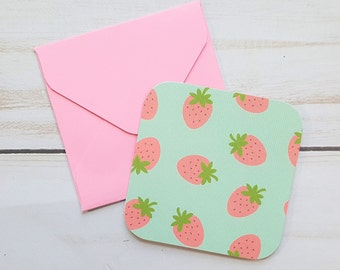 Strawberry Mini Cards, Birthday Note Cards, Party Favors, Enclosure Cards, Blank Cards, Gift Enclosures, Pink Envelopes, Set of 10