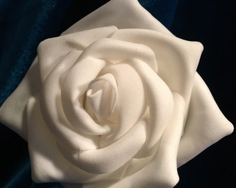 white rose bridal bridesmaid or debutante hair clip