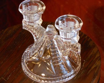 Vintage Clear Glass Double Candle Holder