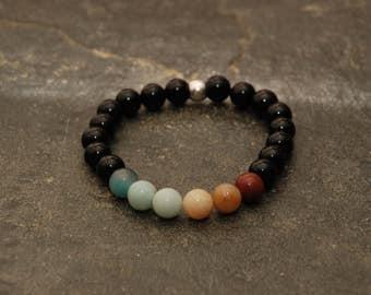 Gemstone Beaded Bracelet Men's/ Women's Black Onyx and Amazonite