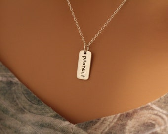 Sterling Silver Protect Word Charm Necklace, Protect Charm Necklace, Protect Necklace, Protect Word Necklace, Protect Pendant Necklace