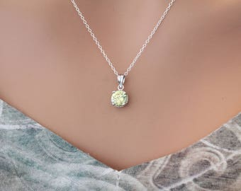 Sterling Silver Light Green August Birthstone Necklace, August Birthstone Charm Necklace, Birthstone Pendant Necklace, August Birthday Gift