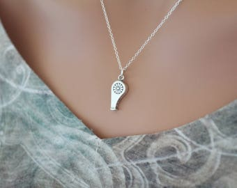 Sterling Silver Whistle Pendant Necklace, Whistle Charm Necklace, Silver Whistle Pendant Necklace, Whistle Pendant Necklace, Whistle Charm
