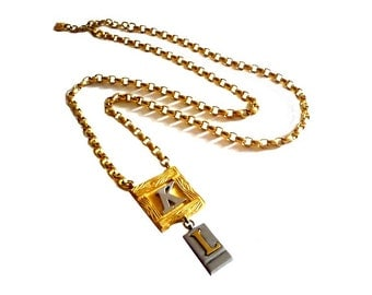 KARL LAGERFELD ~ Authentic Vintage Gold Plated Long Necklace/Sautoir - KL Logo