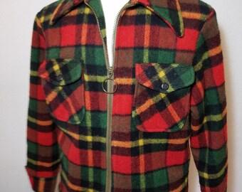 FREE  SHIPPING   1960 Wool Plaid Men Jacket