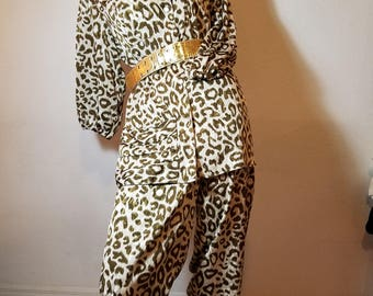FREE  SHIPPING   1980  Leopard Pant Suit
