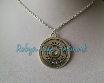 Large Silver Train Hard or Go Home 50KG Barbell Weight Necklace on Silver Crossed Chain, Personal Trainer, Body Builder, Weight Lifter, Gym