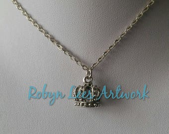 Very Small 3D Silver Crown Tiara Charm Necklace on Silver Crossed Chain or Black Faux Suede Cord. King, Queen, Prince, Princess, Tsar