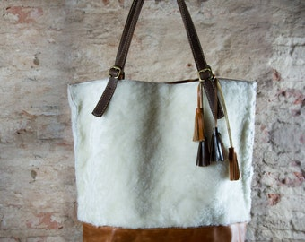 Sheepskin bag, sheep skin purse, Leather tote bag, natural tote, sheepskin tote bag, Unique tote, Leather Tote Bag, Oversized Leather purse