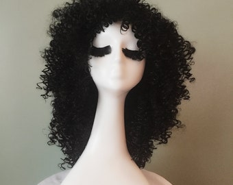 Black Curly Afro Wig / Natural Texture Curly Wig / Full Corkscrew Handmade Cosplay Wig