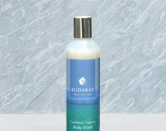 Organic Gluten Free Body Wash Shower Gel//Carribean Tropica//Vegan, Natural, Sulfate Free// 8 oz
