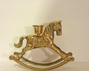 Vintage Brass Rocking Horse Candle Holder