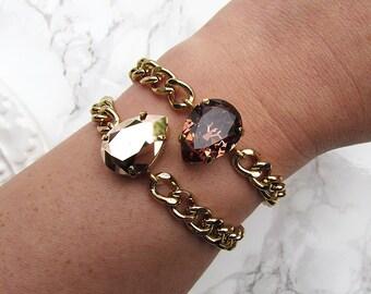 Blush Rose Crystal Pear Gold  Bracelets / Swarovski Crystal /Curb Chain / Gold / Stacking Bracelets / Arm Candy / Rose Gold / Teardrop