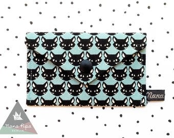 Business Cards Case / Credit Cards Holder : Cats Black & Light Turquoise