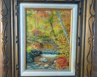Vintage Old Oil Painting on Canvas Carved Wood Frame Impressionist Landscape Art
