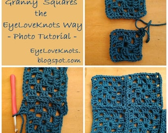 CROCHET TUTORIAL - Join-As-You-Go Granny Squares the EyeLoveKnots Way, How to Join Crochet, Crochet Photo Tutorial, Easy Crochet How To
