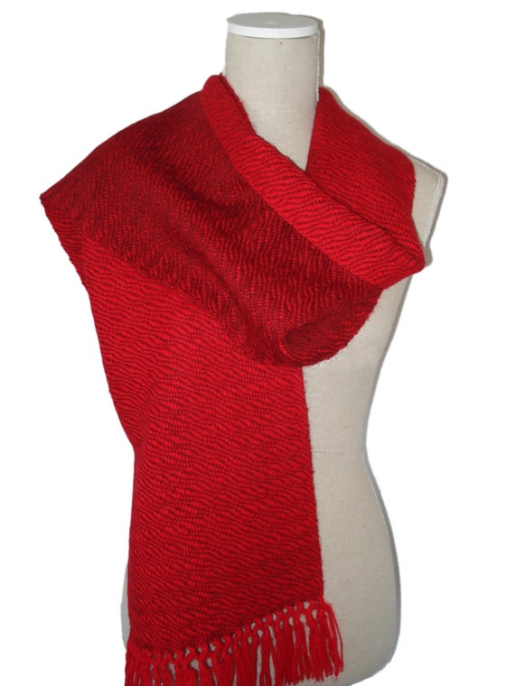 Scarf, 100% Alpaca Wool, Handwoven, colours red & tomato