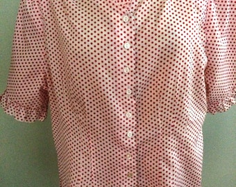 1960s Red and White Polka Dot Blouse Size XL