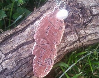 Free Spirit Hand Stamped Copper Feather Necklace - Rustic Mixed metal Dandelion hand wrapped pearl trendy fashion style