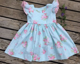 Toddler Dress Girl, Blue dress with pink  flowers and accent,  Baby girl flutter sleeve dress, Retro style dress, Custom toddler dress.