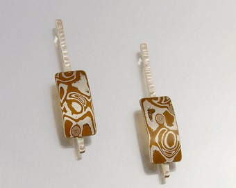 Sterling silver/copper mokume gane earrings - curved reactangle on forged silver line