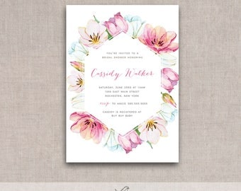 NEW Spring Tulips Printable Shower Invite