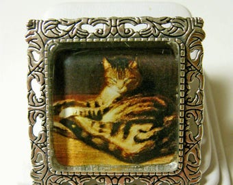 Steinlen cat pendant/brooch with chain - CAP35-006