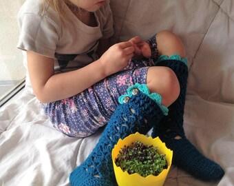 Kids Long Socks,Lacy Crochet socks,Ocean dark blue Girl's Knee Socks,Light emerald Crochet Lace Trim, and Wooden Buttons,Gril knee socks