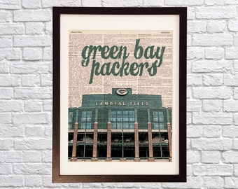 Green Bay Packers Dictionary Art Print - Lambeau Field, Wisconsin - Print on Vintage Dictionary Paper - Packers Football Art - Gift For Him