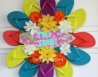 Tiki Time Flip Flop Wreath – Beach Party Surfboard – Pink Yellow Blue Orange - Pool Deck –Hawaiian Luau Door Décor