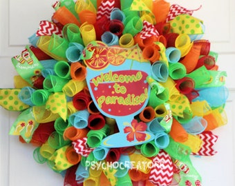 Summer Wreath, Welcome To Paradise Curly Spiral Deco Mesh Wreath, Multicolor Rainbow Décor, Margaritaville Beach Party BBQ