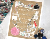 Creative Minds Are Rarely Tidy print – quote print – paper cut print – craft room decor – calligraphy – sewing art – gift for crafter