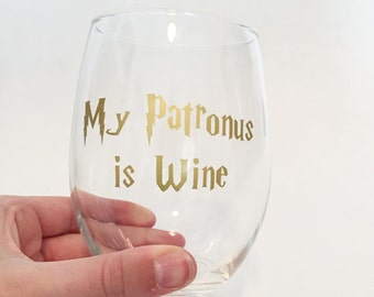 My Patronus Is Wine Harry Potter Inspired Stemless Wine Glass - Gold