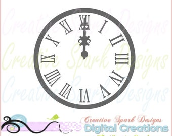 Midnight Clock SVG, DXF, PNG Digital image for scrapbooks, vinyl, decal, iron-on, wall art, embroidery, home decor, clip art