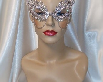 Crystal Rhinestone Metal Masquerade Mask, Mardi Gras Mask, Masquerade Ball Mask, Jeweled Bridal Mask, Ice Queen Mask
