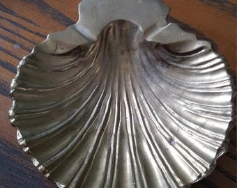Brass shell, footed dish.