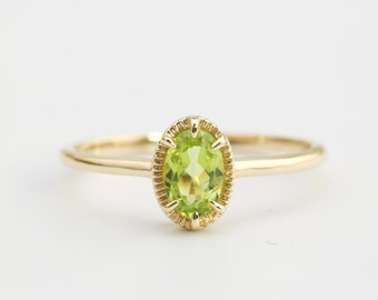 14k gold peridot ring, oval stone ring, august birthstone, gift for her, genuine green peridot, ado-r105-per