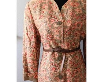 Vintage Floral blazer/ Floral Jacket/Brown Blazer/ Long jacket/Vintage Blazer/Vintage Jacket/Floral Spring Jacket