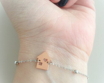Home pendant bracelet and silver chain with beads