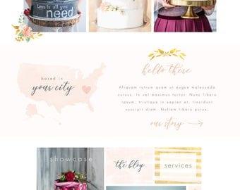 Wix Website template, website design, bakery website, pink & gold, watercolor, website template, logo design, wedding cake, bakery logo 4890