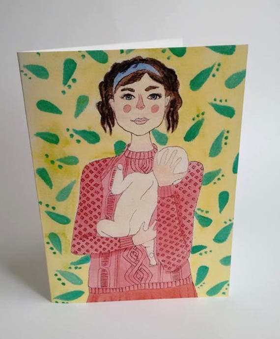 Mother's Day Card - Mother & Child - Handmade and printed from original ink and gouache illustration