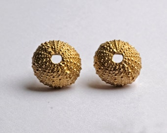 sea urchin earrings silver gold plated sterling
