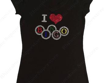 "Women's Rhinestone T-Shirt "" I Love Bingo "" in S, M, L, 1x, 2x, 3x"