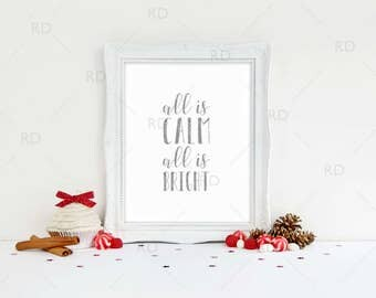 All is Calm All is Bright - PRINTABLE Wall Art / Christmas Lyrics printable / Holiday wall art / Christmas Wall Art / 5 for the price of 1!